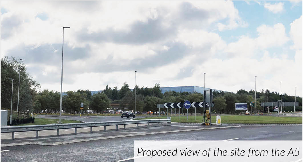 Proposed low-level petrol station view